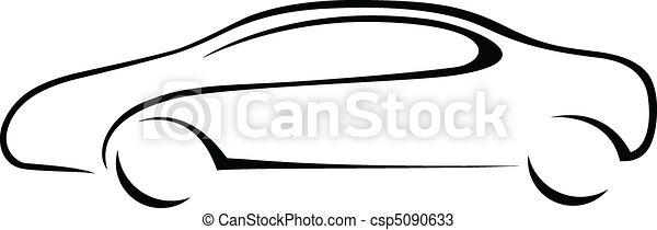 מכונית, צללית, emblem. - csp5090633