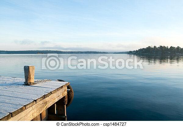 מעל, הבט, אגם, דממה - csp1484727