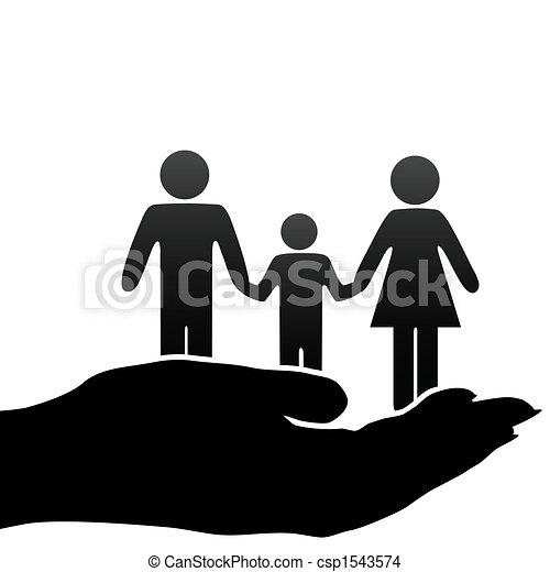משפחה, אמא, אבא, העבר, סמלים, חפון, ילד - csp1543574