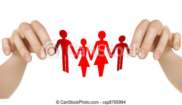 משפחה, נייר, ידיים - csp8765994