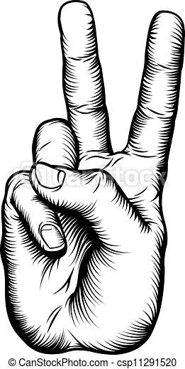 סימן של שלום, ניצחון, *v*, העבר, או, הצדע - csp11291520