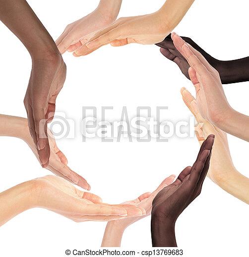סמל, רב גזעני, ידיים אנושיות, קונצפטואלי, לעשות, הסתובב - csp13769683