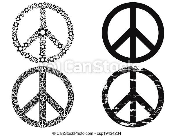 סמל, שלום, שחור - csp19434234