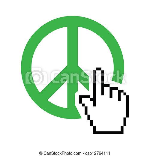 סמן, שלום של עולם, ירוק, חתום - csp12764111