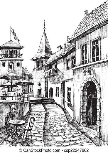 עיר, רשום, ישן, מסעדה, ציור, דרג, שלומי - csp22247662