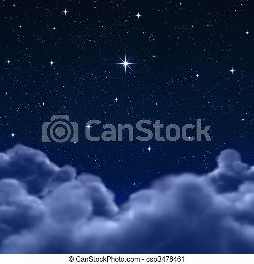 עננים, פסק, שמיים, דרך, לילה, או - csp3478461