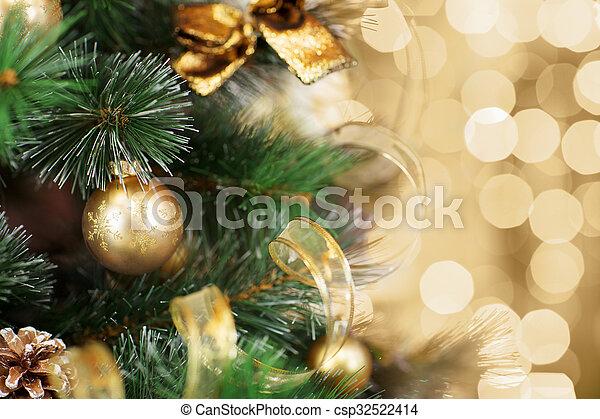 עץ, זהב, רקע, חג המולד קל, מטושטש - csp32522414
