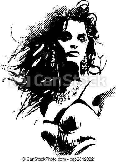 פוסטר, אישה, אומנות, קפוץ - csp2842322