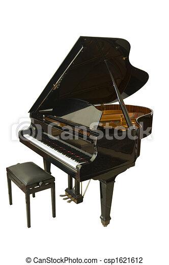 מסודר פסנתר, גדול. הפרד, כנף, גדול, תינוק, לבן, פתוח, פסנתר. UU-31