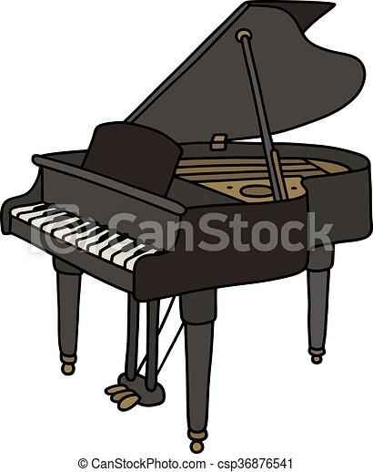 תוספת פסנתר, שחור, גדול. קלאסי, העבר, שחור, פסנתר כנף, פתוח, ציור. ET-77