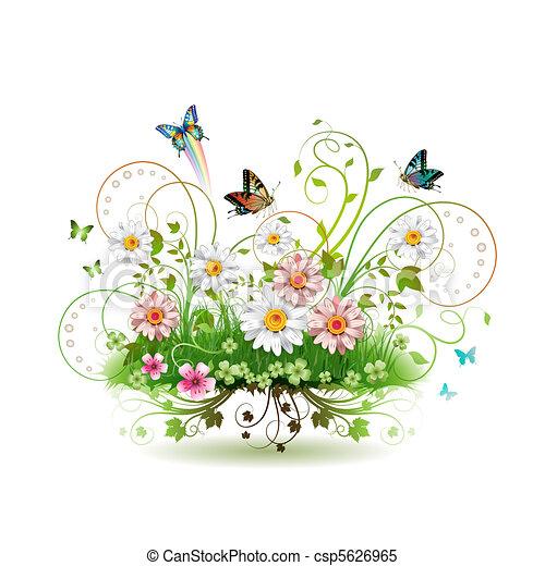 פרחים, דשא - csp5626965