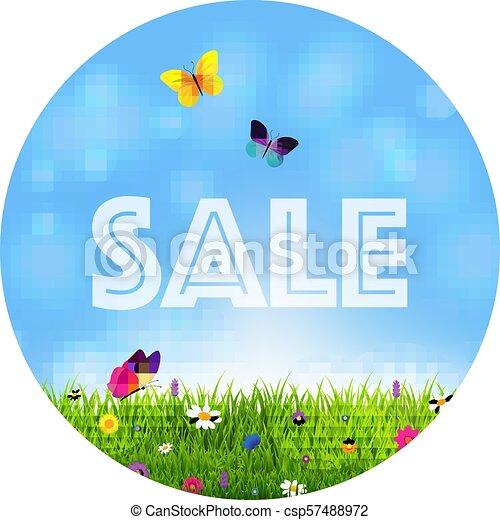 פרחים, דשא, מכירה, כדור - csp57488972
