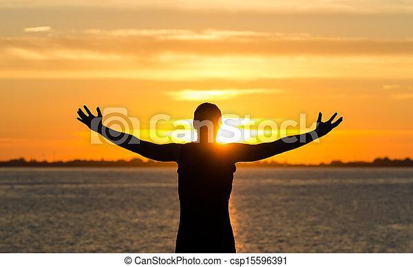 פתוח רחב, ידיים, החף, עלית שמש, איש - csp15596391