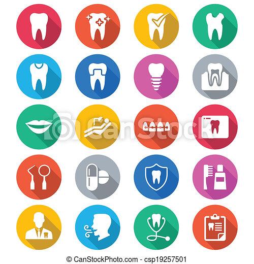 צבע, דירה, של השיניים, איקונים - csp19257501