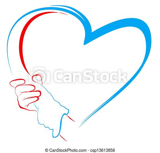 צורה של לב, להחזיק ידיים - csp13613856