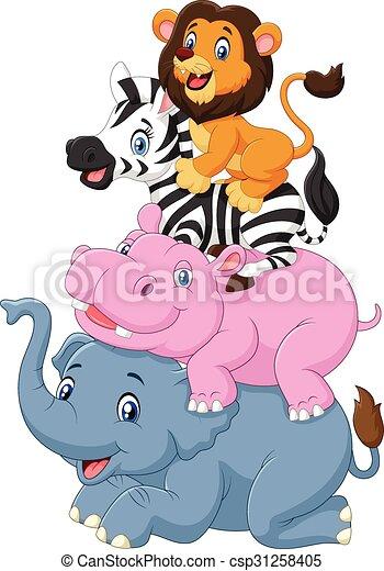 ציור היתולי, בעל חיים, מצחיק, לעמוד - csp31258405