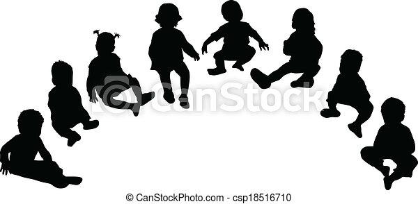 צלליות, ילדים - csp18516710