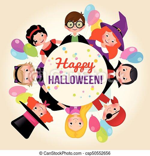 קבץ, חגיגי, פוסטר, halloween., הלוווין, דוגמה, ילדים, וקטור, הזמנה, שמח, מפלגה., או, חגוג, אחסן - csp50552656