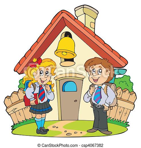קטן, מדים של בית הספר, ילדים - csp4067382