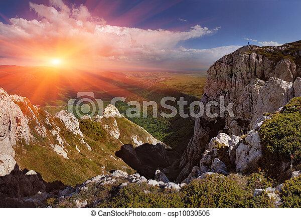קיץ, הרים., עלית שמש, נוף - csp10030505
