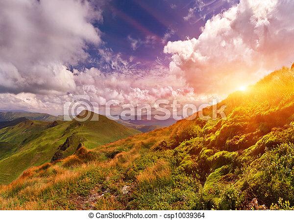 קיץ, שקיעה, הרים., נוף - csp10039364