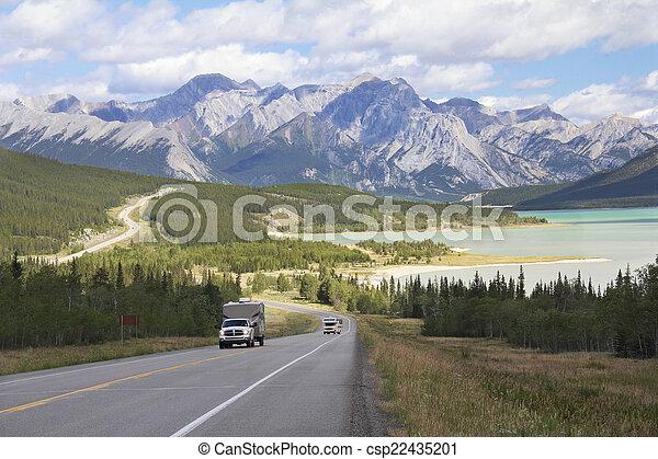 קנדה, הר, -, אגם, בא, לסבב, אלברטה, כביש מהיר - csp22435201