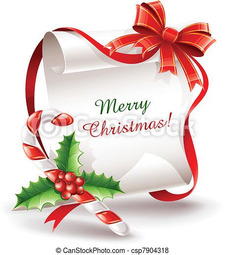 קנה, קרמל, כרטיס של דש, חג המולד - csp7904318