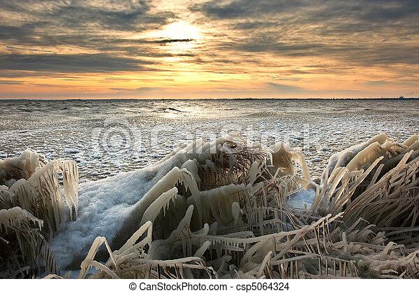 קרח של חורף, אגמון, נוף, כסה, קור, עלית שמש - csp5064324
