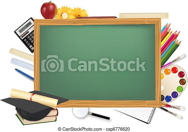 שולחן, הספקות, בית ספר, ירוק - csp6776620