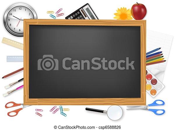 שולחן שחור, supplies., בית ספר - csp6588826