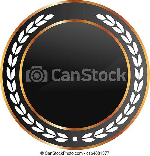 שחור, זהב, מדליון - csp4881577