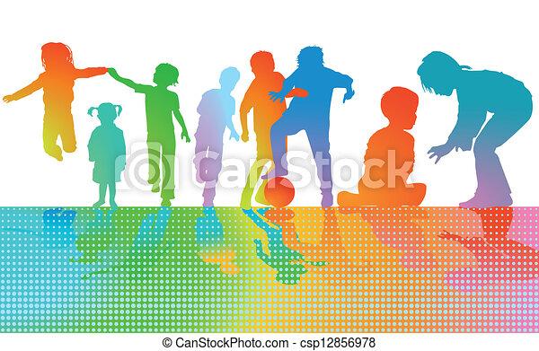 שחק, צבעוני, ילדים - csp12856978