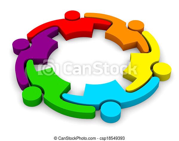 שיתוף פעולה, התחבק, 6, קבץ, אנשים - csp18549393