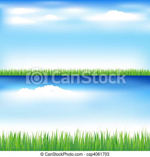 שמיים כחולים, דשא, ירוק - csp4061703