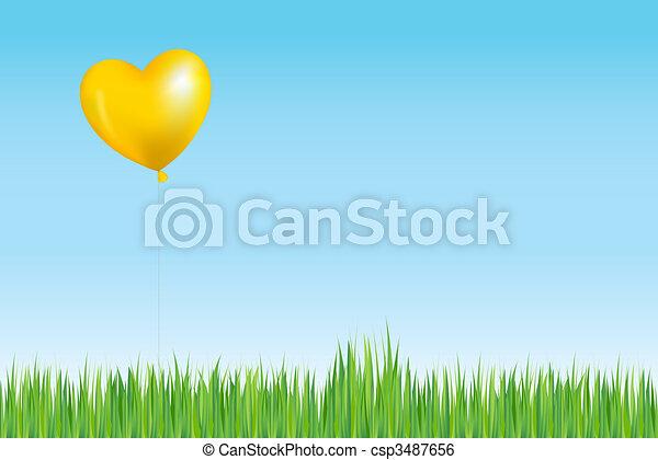שמש, balloon, דשא, כמו, מעל - csp3487656