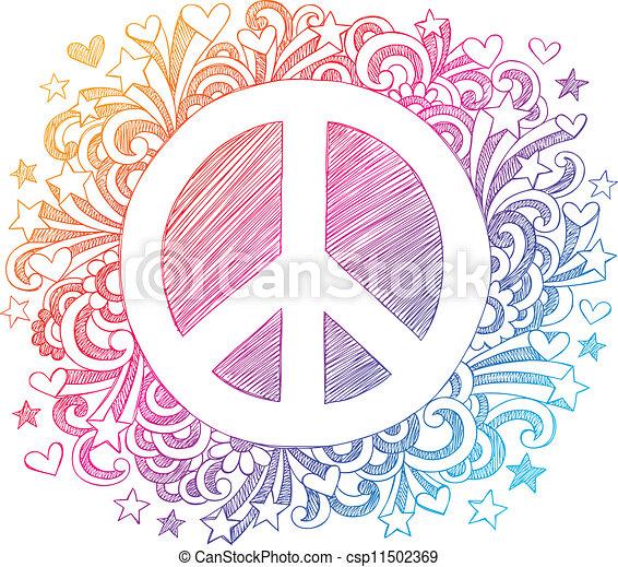 שרבט, sketchy, וקטור, סימן של שלום - csp11502369
