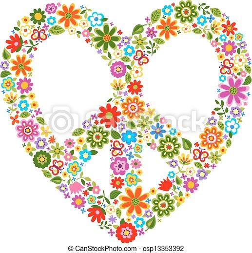 תבנית פרחונית, חמם, סמל של שלום - csp13353392