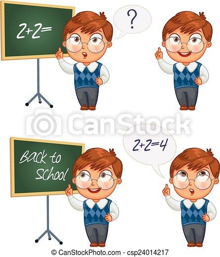 תלמיד, לוח לגיר, לכתוב - csp24014217