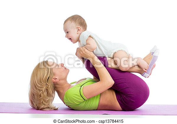 תרגילים, תינוק, אמא, התעמלות, כושר גופני - csp13784415