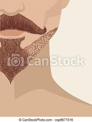 あごひげを生やしている, イラスト, 人の表面, ベクトル, デザイン, バックグラウンド。 - csp8671516