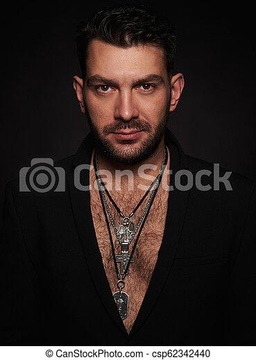 あごひげを生やしている, 流行, 黒い背景, man., ハンサム - csp62342440