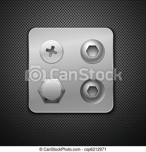 あなたの, design., ベクトル, 要素, ねじ, 現実的, rivets., illustration. - csp6212971