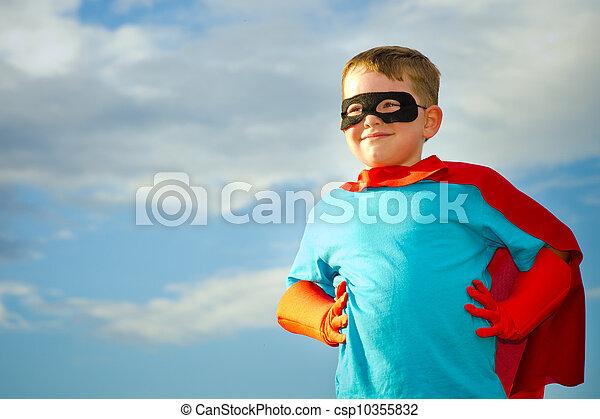 ありなさい, superhero, ふりをすること, 子供 - csp10355832