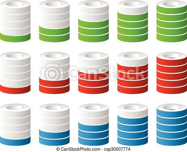 ∥あるいは∥, 進歩, ステップ, レベル, indicators., cylinders., 充足, 完成, 3d - csp30507774