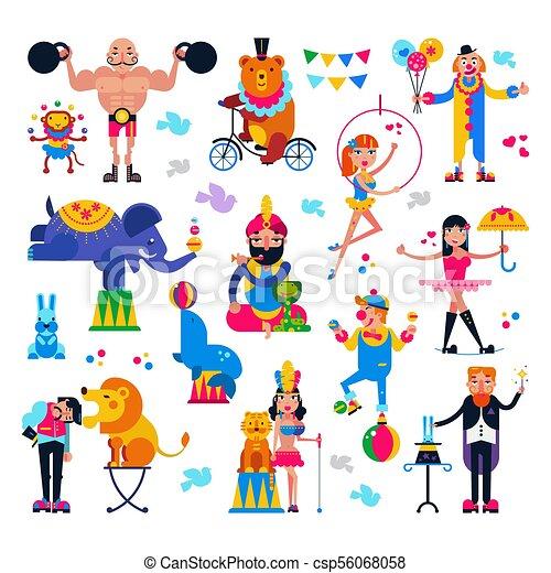 あるいは Circus Tent セット 動物 背景の 人々 特徴