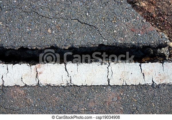 ある, ライン, 破壊された, 交通, 地すべり, 道 - csp19034908