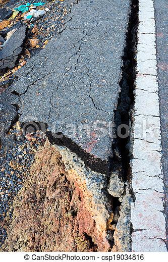 ある, ライン, 破壊された, 交通, 地すべり, 道 - csp19034816
