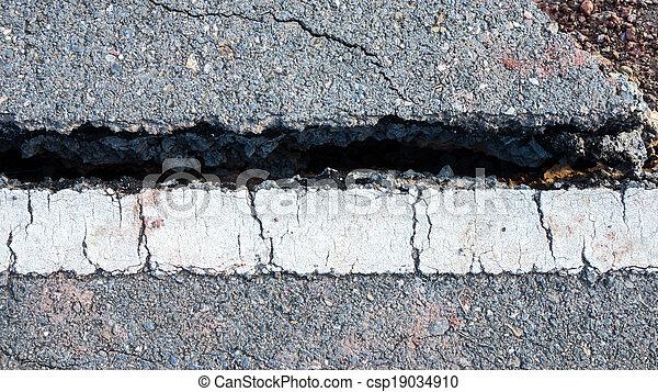 ある, ライン, 破壊された, 交通, 地すべり, 道 - csp19034910