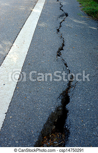 ある, 破壊された, 地すべり, 道 - csp14750291