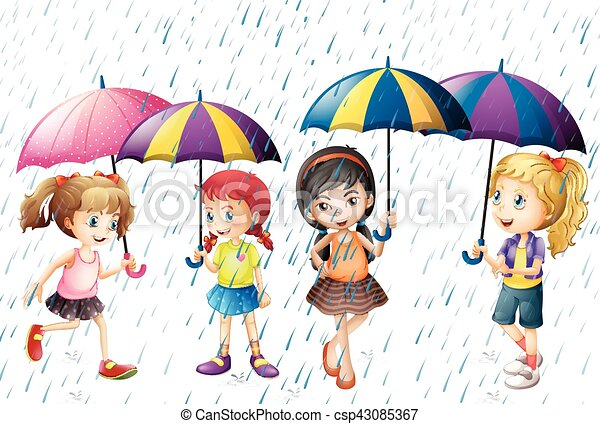 ある, 4, 子供, 傘, 雨 - csp43085367